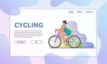 Sport activities flat illustration. Sportsman cartoon character. Bike training. Outdoor exercises on bicycle. Cycling and active lifestyle concept Иллюстрация