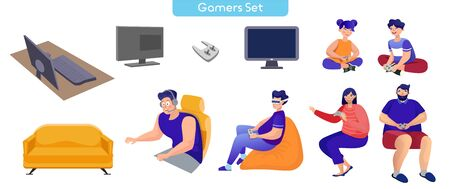 Playing games flat vector illustrations set. Virtual reality entertainment, video and computer games. Weekend activities. Boy in VR glasses, couple with joysticks cartoon characters isolated on white Ilustração
