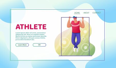Sport activities flat illustration. Sportsman cartoon character. Swimming, powerlifting, skiing. Pool training. Bodybuilder with barbell. Outdoor exercises. Active lifestyle concept