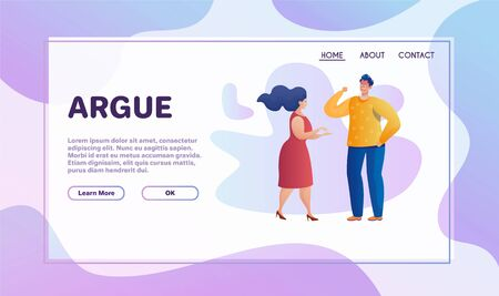 Arguing people flat vector illustration. Angry man and woman screaming and shouting cartoon characters. Relationship problem, misunderstanding, family conflict concept design elements