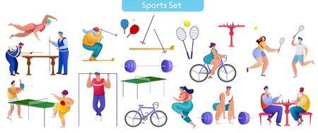 Sport flat illustrations set Illusztráció