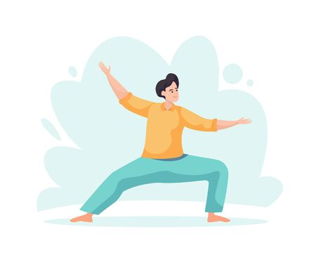 Meditation health benefits for body, mind and emotions. Cartoon vector illustration. Male character. Man flies. Yoga lotus pose practice. Office worker avoid stress