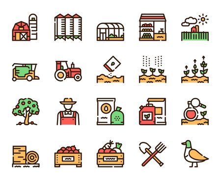 Agriculture linear color vector icons set. Farming, eco products growing contour symbols. Barn, tractor, farmer. Harvesting, wheat cultivation. Agribusiness outline illustrations collection