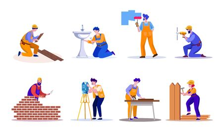 House repair and renovation flat vector illustrations set Ilustrace