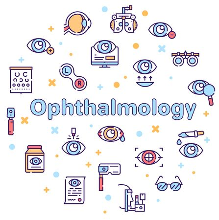 Ophthalmology color linear vector icons set. Ilustracja