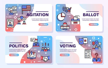 Election color linear vector icons set.