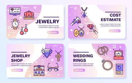 Jewelry color linear vector icons set.