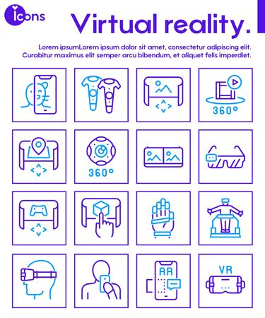 Virtual and augmented reality color linear vector icons set