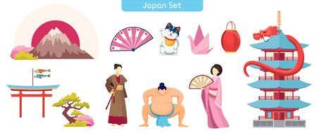 Japanese symbols flat vector illustration 写真素材 - 140704353
