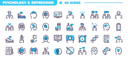 Depression symptoms blue linear vector icons set Ilustração