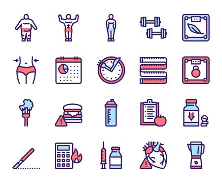 Weight loss color linear vector icons set. Physical exercising and healthy nutrition, diet contour symbols. Obesity, overweight treatment. Measure tape, scales, water bottle outline illustrations Ilustracja