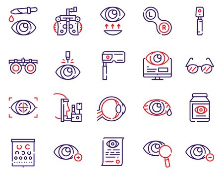 Ophthalmology color linear vector icons set. Visible and medicine, supervision observe, lens, eyesight health. Optometry, eye exam, laser surgery, eyeball, glasses Ilustracja