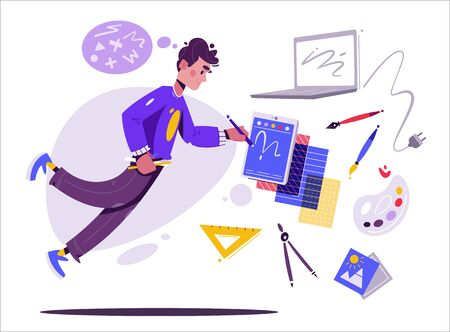 Designer character. Illustrator or digital artist. Cartoon vector illustration. Creative occupation. Levitating person with work tools. Workspace concept