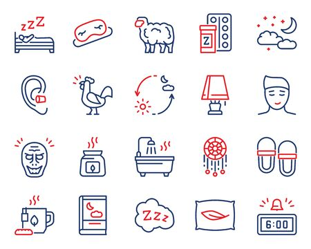 Sleep and insomnia color linear vector icons set.