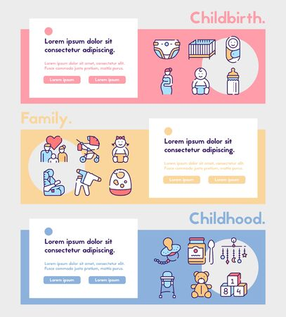 Birth of a child color linear vector icons set. Editable stroke.