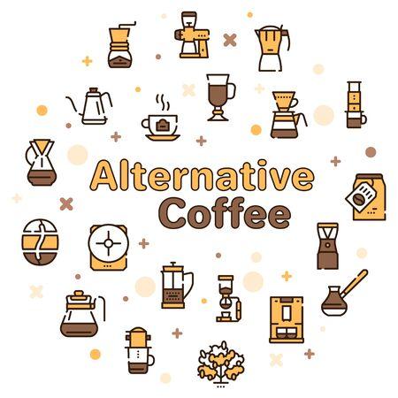 Third wave alternative coffee color icon set. Editable stroke. 일러스트