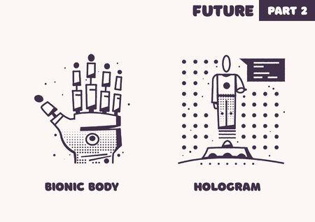 Technologies of the future. Retro icon set. Flat vector illustration Ilustracja