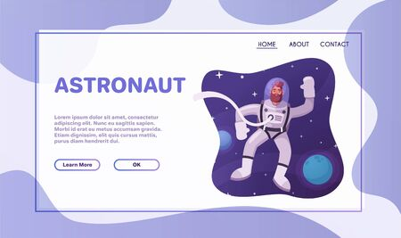 Astronaut character exploring outer space. Illustration