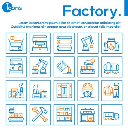 Factory color line icon set. Labor and engineering concept Illustration