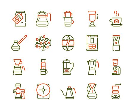 Third wave alternative coffee color icon set. Editable stroke. Coffee makers, brew methods. For modern restaurants and cafes menu. Roasting beans, preparing and brewing. 일러스트