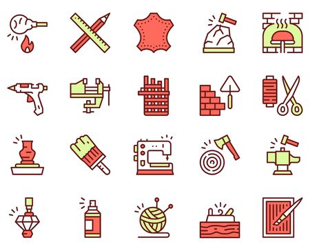 Craft and handmade color icon set. Hobbies, work and makers Illustration