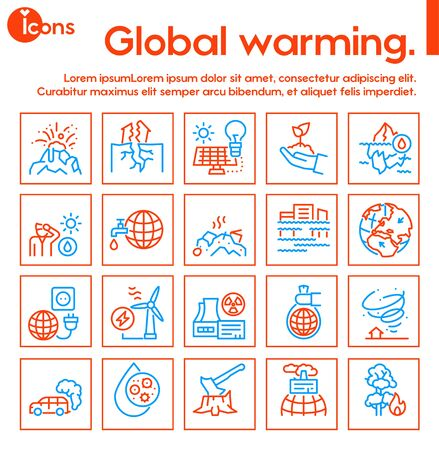 Climate change and global warming color linear icon set. Natural disaster and ecology concept 向量圖像