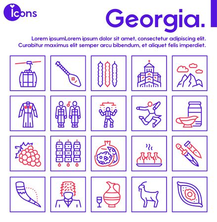 Georgia color linear icon set. Georgian culture, food and traditions. Including Georgians highlander, khinkali, khachapuri, wine, horn, dagger, clothes, dance and more 向量圖像
