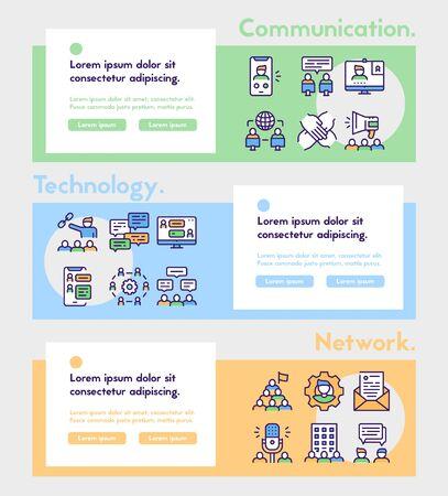 Set of teamwork related vector linear Icons. Communication concept. Vektoros illusztráció