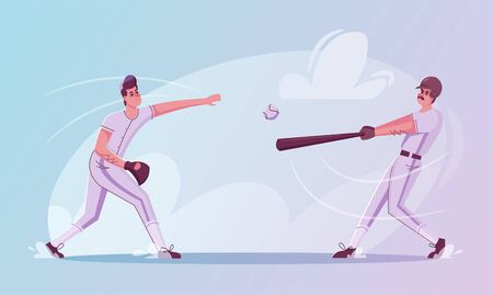 Baseball players are training. Character design. Cartoon flat illustration