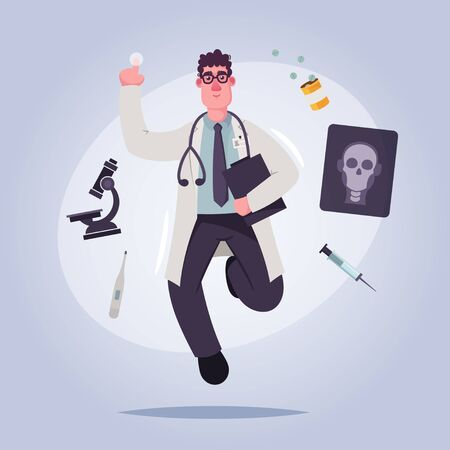 Doctor character. Cartoon vector illustration. Health care concept
