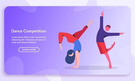Contemporary and classical dancing set. Dancer character design. Flat vector illustration. Modern dance styles. Hip-hop, break, ballet, house, jazz, funk, popping
