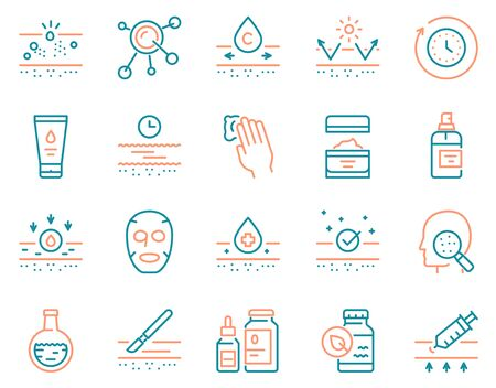 Cosmetology and skin care color linear icon set. 24 hour face care protection Illustration