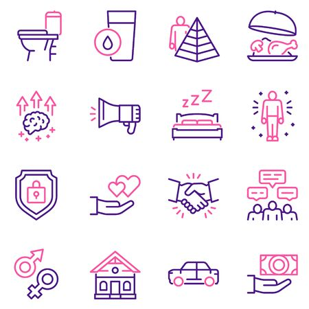 Hierarchy of human needs linear color icon set. Maslow Pyramid concept. 写真素材 - 143438352