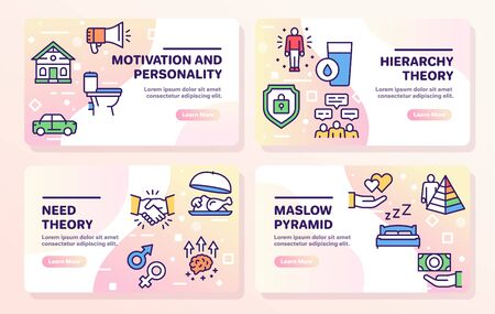 Hierarchy of human needs linear color icon set. Maslow Pyramid concept. 写真素材 - 143438360