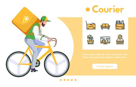 Vector banner of man courier with package on bicycle. Fast delivery food or purchases, digital shopping. Vector color linear icon set - furniture parcel, tracking location, delivering home service 向量圖像