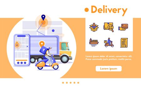 Vector banner man courier package on motorcycle, parcels in truck. Fast delivery food, purchases, digital shopping. Vector color linear icon set - shipping, tracking location, delivering home service