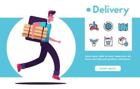 Fast delivery company concept. Courier rings the doorbell. Delivery man character. Cartoon vector illustration. Person in uniform with backpack hold pizza boxes. Tracking and location. Food service