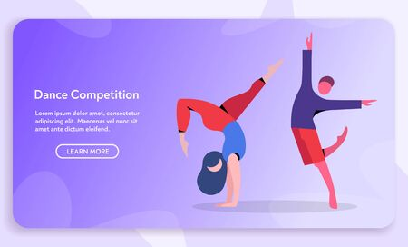 Contemporary and classical dancing set. Dancer character design. Flat vector illustration. Modern dance styles. Hip-hop, break, ballet, house, jazz, funk, popping