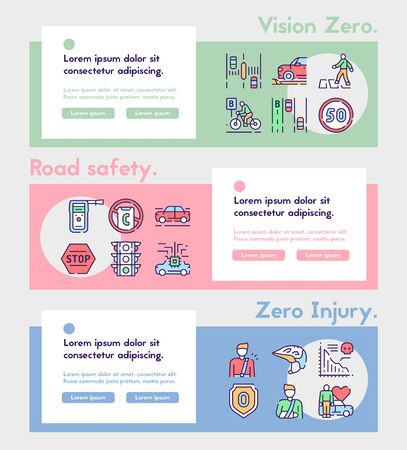 Vector color linear icon banner Vision Zero  イラスト・ベクター素材