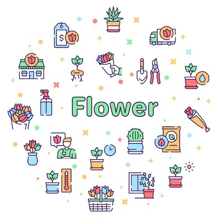 Flowers symbols color linear vector icon set. Outline symbol collection includes blooming flowers, potted plants, flower business, floristry, gardening and plant care. Profession and hobby concept Vettoriali