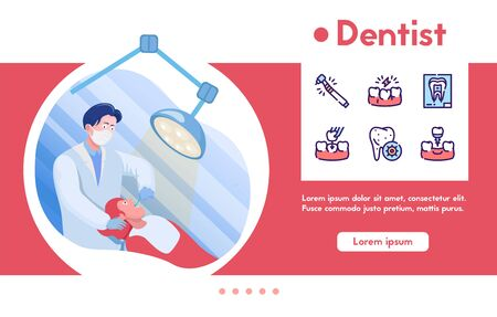 Vector banner dentist with linear icons set