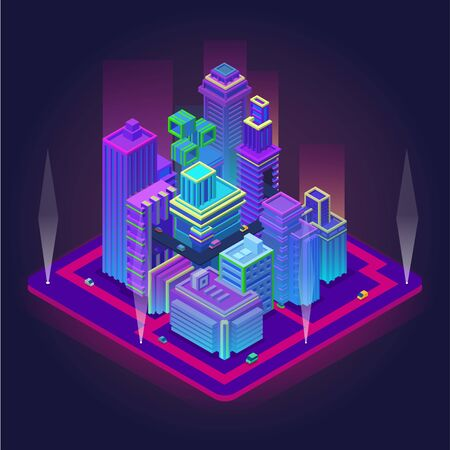 Isometric business center with skyscrapers