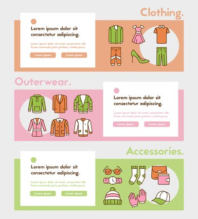 Vector color linear icon banner set of clothing Banque d'images - 144122645
