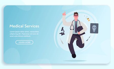 Medical service. Doctor character design. Scientist doing research. Cartoon vector illustration