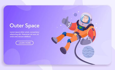 Astronaut character exploring outer space. Cartoon vector illustration