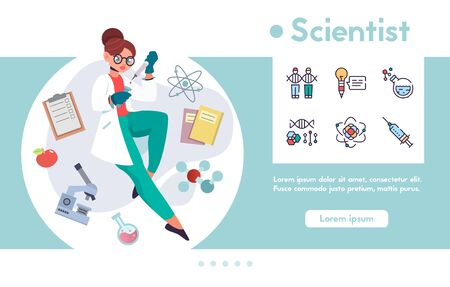 Vector banner scientist and linear icons set