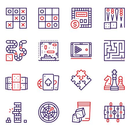 Vector color line icon set of table games Çizim