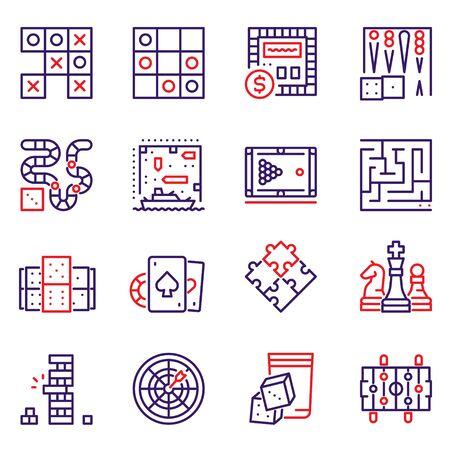 Vector color line icon set of table games Ilustração