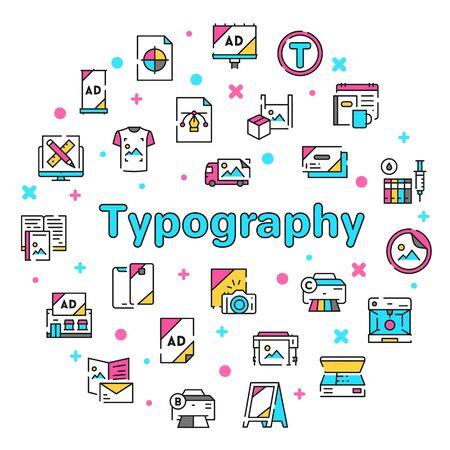 Typography symbols color linear vector icon set