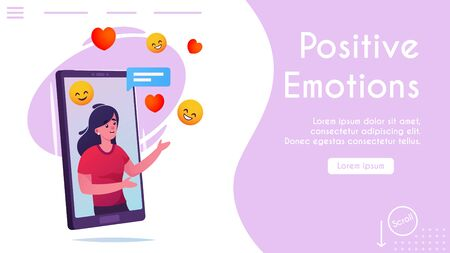 Vector banner of internet social communication concept. Character friendly woman says positive comments in online chat on smartphone screen. Positive emotions, comfort and safe in social networks Stock fotó - 144503168